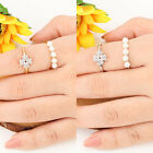 18K White Yellow Gold Gp Austrian Crystal Pearl Christmas Gift Tail Finger Rings