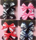 ♥POLKA DOT SET 2 RIBBON BOW HAIR PONIO PONYTAIL ELASTIC BOBBLES GIRL SCHOOL CUTE