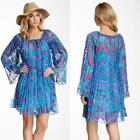 Hale Bob Dress Chiffon Pleated Isabella New Blue Printed Shift NWT