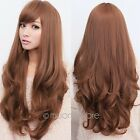 Women Long Brown Curly Wavy Full Wigs Party Hair Cosplay Lolita Fashion Wig MP42