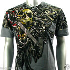 Artful Couture T-Shirt Sz M L XL XXL Tattoo Skull Guitar Skate Board Rock AG8 D1