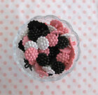 PACK 6 VINTAGE STYLE WHITE, PINK, BLACK BERRY CLUSTER 22MM PLASTIC SHANK BUTTONS