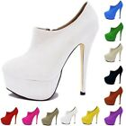 HIGH HEELS PLATFORM WOMENS AUTUMN CASUAL ANKLE PUMPS BOOTS SHOES SIZE US 4-11