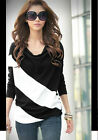 Charmant femme T-shirt longue Women's Batwing Sleeve Tee Personality Neckline