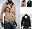 Sweats Homme manteaux veste Mens Double-breasted Trench Short Coat Jacket