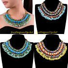 New Fashion Gold Chain Multicolor Turquoise Resin Statement Collar Bib Necklace