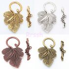 10sets silver/golden Grape Leaf Toggle Clasp Tibetan Silver Jewelry Making