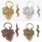 10 Sets Gold/Silver/Brass/Copper Grape Leaf Toggle Clasps Hooks Jewelry Making