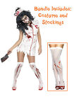 Ladies Sexy Zombie Nurse Costume + Stockings Adult Womens Halloween Fancy Dress