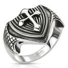 Men's New Stainless Steel Dragon Wing Templar Cross Biker Ring - Sizes 9-13
