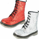 SALE Ladies Spot On Glitter lace up ankle boot F50200