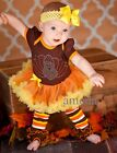 Baby Thanksgiving Brown Rhinestone Turkey Bodysuit Pettiskirt Romper Party Dress