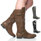 WOMENS LADIES LOW HEEL QUILTED ZIP BUCKLE CALF RIDING WINTER KNEE BOOTS SIZE