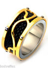 BOLD MENS INOX GOLD IP STAINLESS STEEL ART FRAME BLACK STINGRAY BAND RING