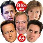 GENERAL ELECTION 5Pk BIG Face Masks A3/A4 CAMERON FARAGE MILIBAND CLEGG STURGEON