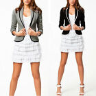 Plus Size S M L XL XXL New Womens Ladies Stylish Striped Suit Coat Jacket Blazer
