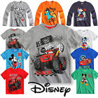 Boys Disney Shirt Kids Top Mickey Mouse Cars Short Long Sleeve New Age 3-10Years