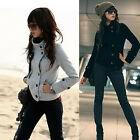 Lady Button Hoodie Top Long Sleeve Jumper Sweatershirt Short Coat Outwear Jacket