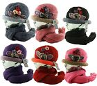 Women's Floral Applique Studs Knitted Roll Cloche Hat + Scarf 2 pcs.Combo Set
