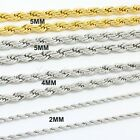 2mm 4mm 5mm Silver/Gold Stainless Steel Rope Necklace Chain Mens Women FREE S&H