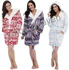 Ladies Fleece Dressing Gown Hooded Short Robe Fair Isle Blue Red8 10 12 14 16 18