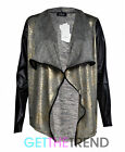Womens Gold Shiny Glitter Foil Blazer Ladies Waterfall Wet Look Sleeves Cardi