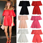 LADIES/WOMENS CELEB INSPIRED FRILL OFF SHOULDER MINI PARTY DRESS SIZE 8-14