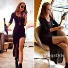 New Autumn Winter Women Long Sleeve Knit Bodycon Formal Evening Party Slit Dress