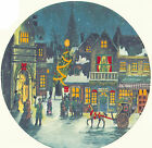Ceramic Decals Vintage City Christmas Holiday Scene