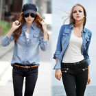 Denim Blouse Shirt Long Sleeve Women Jean Top Tops Retro Blue Vintage Cotton New