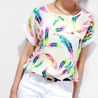 1PC Women Feathers Chiffon Blouse Top Casual Short Sleeve Loose T-Shirt Salable