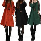 Cotton Womens Winter Asymmetric Hem Tunic Dress Long Sleeve Ladies Dresses 2-8
