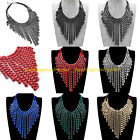 Fashion Multicolors Rope Print Alloy Tassels Chain Statement Pendant Necklace