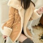 Korean Winter Faux Fur Slim Warm Double-breasted Parka Jacket Womens Coat Cute