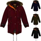 Girls Fishtail Faux Fur Hooded Parka Jacket Childrens Quilted  Warm Winter Coat