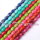 """6X8MM SMOOTH OVAL SHAPE IMPERIAL JASPER GEMSTONE BEADS STRAND 15"""" PICK COLOR"""