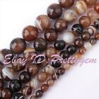 6/8/10/12/14MM FACETED ROUND BROWN BANDED AGATE LOOSE GEMSTONE BEADS STRAND 15""