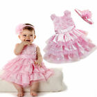 Infant Baby Girls Outfit Tutu Bow Dress +Flower Headband Clothes kids Pettiskirt