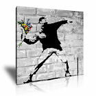 BANKSY Flower Thrower 1 Canvas 1S Framed Printed Wall Art ~ More Size