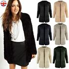 WOMENS LADIES FLUFFY SOFT FUR ANGORA EYELASH CARDIGAN JACKET KNITTED WOOLY COAT