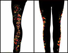 REGULAR & PLUS SIZE LONG LEGGINGS Embellished Rhinestone & Stud Autumn Leaves