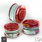 Red Glass 'Fire'- 8 10 12 14 16 18 20 22 24 26 28 30mm Ear Plugs - Sold p/pce