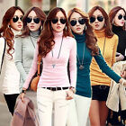 Winter Women Long Sleeve Turtleneck Cotton Slim T-Shirt Bottoming Tops 22 Colors