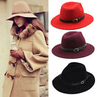 Chic Women Wool Fedora Trilby Belt Cap Wide Brim Design Warm Winter Cowboy Hat