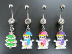 316L Surgical Steel Enamel Christmas Tree Snowman Navel Belly Button Ring Bar
