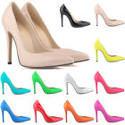 Womens Patent PU High Heels Corset Stiletto Work Pumps Party Shoes Size UK 2 - 9