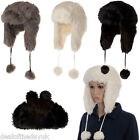 Ladies Trapper Hat Faux Fur Winter Ski Hats Girls Womens Black White Grey Fur UK