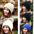 1Pc Nice winter hats for women with fur ball Knitted Braided Crochet Beret Caps