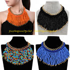 Fashion Bohemia Multicolor Resin Bead Tassels Chain Statement Pendant Necklace