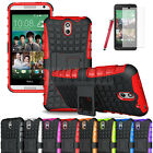 Heavy Duty Hybrid Impact Rugged Stand Hard Case Cover For HTC Desire 610+Film